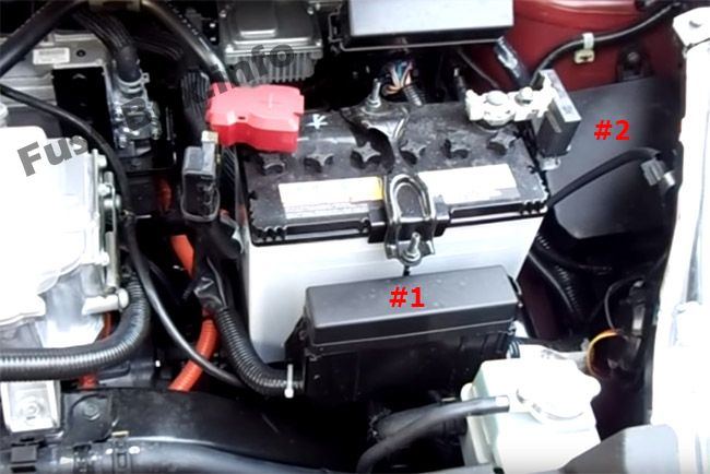 The location of the fuses in the engine compartment: Nissan Leaf (2010-2017)