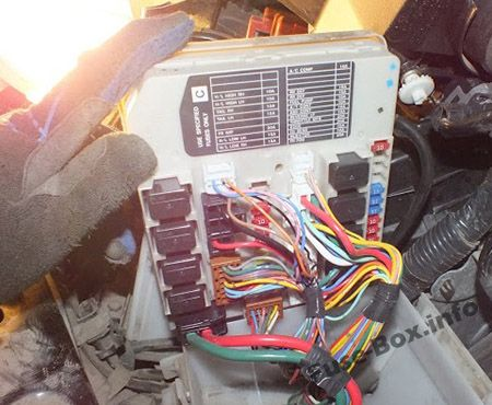 The location of the fuses in the engine compartment: Nissan Micra / March (2003-2010)