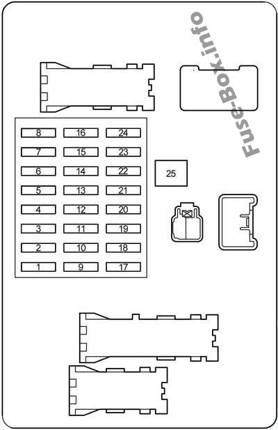 Instrument panel fuse box diagram: Toyota 4Runner (2003, 2004, 2005, 2006, 2007, 2008, 2009)