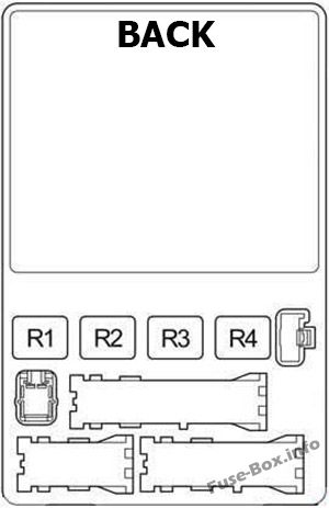 Instrument panel fuse box diagram (back side): Toyota 4Runner (2003, 2004, 2005, 2006, 2007, 2008, 2009)