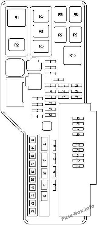 Under-hood fuse box diagram: Toyota Aurion (2006, 2007, 2008, 2009, 2010, 2011, 2012)
