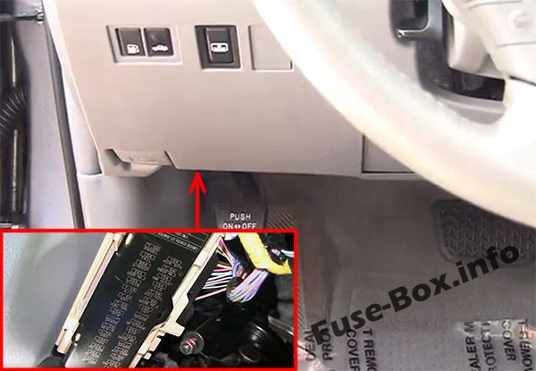The location of the fuses in the passenger compartment: Toyota Avalon (2005-2012)