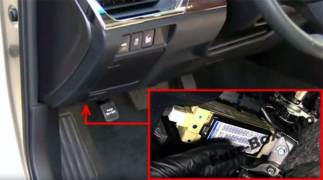 The location of the fuses in the passenger compartment: Toyota Avalon (2013-2018)