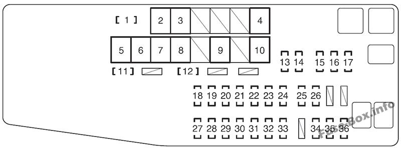 Under-hood fuse box diagram: Toyota Avalon (2013, 2014, 2015, 2016, 2017, 2018)