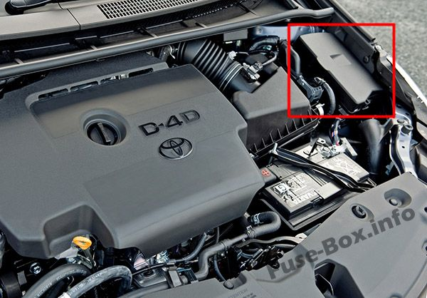 The location of the fuses in the engine compartment: Toyota Avensis (2009-2018)
