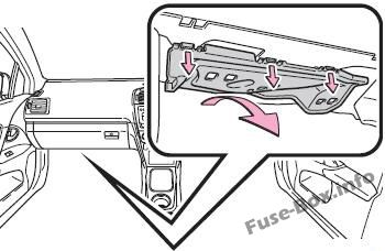 The location of the fuses in the passenger compartment (RHD): Toyota Avensis (2009-2018)