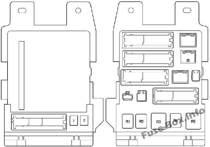 Instrument panel fuse/relay box diagram: Toyota Camry (2007, 2008, 2009, 2010, 2011, 2011)