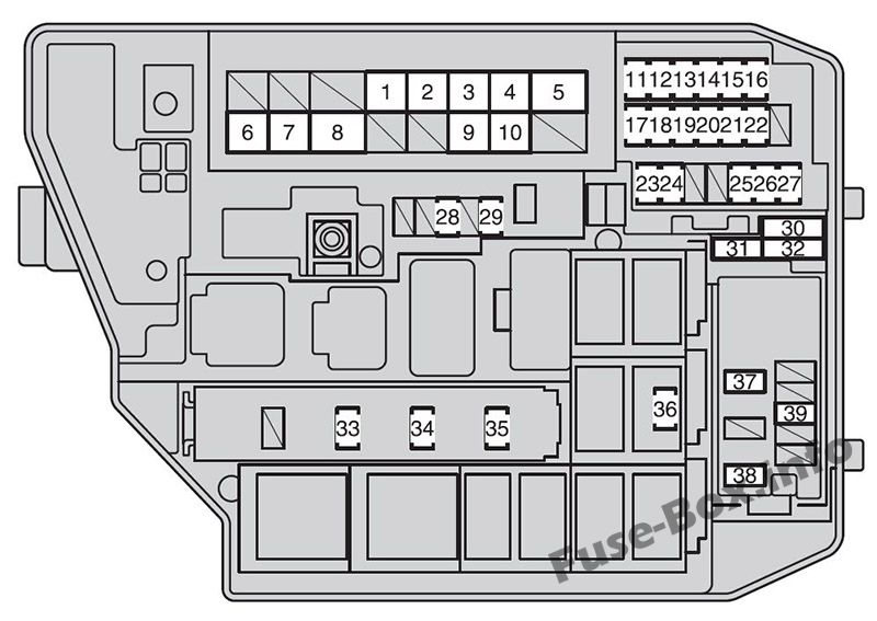 Under-hood fuse box diagram (type 2): Toyota Corolla / Auris (2007, 2008, 2009, 2010, 2011, 2012, 2013)