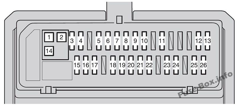 Instrument panel fuse box diagram (type 2): Toyota Corolla / Auris (2007, 2008, 2009, 2010, 2011, 2012, 2013)