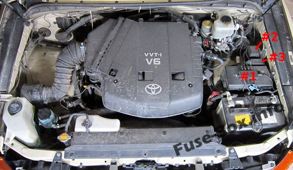 The location of the fuses in the engine compartment: Toyota FJ Cruiser (2006-2015)