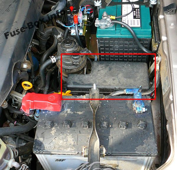 The location of the fuses in the engine compartment: Toyota Hilux SW4 / Fortuner (2005-2015)