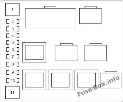 Under-hood fuse box #2 diagram: Toyota Land Cruiser (2014, 2015, 2016, 2017, 2018)