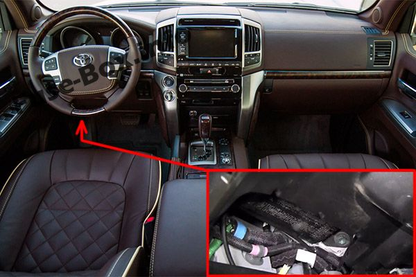 The location of the fuses in the passenger compartment: Toyota Land Cruiser (2008-2018)