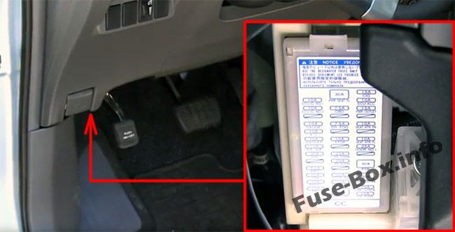 The location of the fuses in the passenger compartment: Toyota Prius V / Prius+ / Prius α (2012-2018)