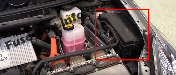 The location of the fuses in the engine compartment: Toyota Prius (2010-2015)