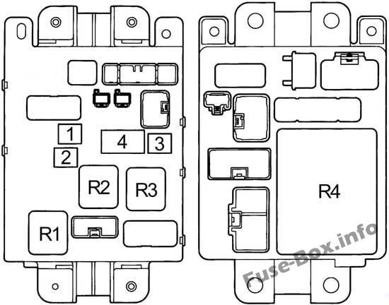 Instrument panel fuse box #2 diagram: Toyota RAV4 (1995, 1996, 1997)