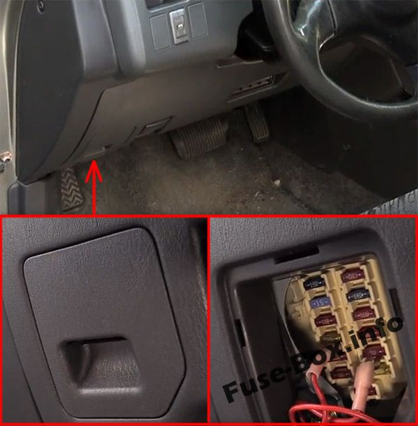 The location of the fuses in the passenger compartment: Toyota RAV4 (1998, 1999, 2000)