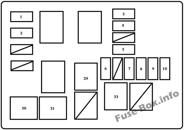 Under-hood fuse box diagram (wo/DRL): Toyota RAV4 (1998, 1999, 2000)