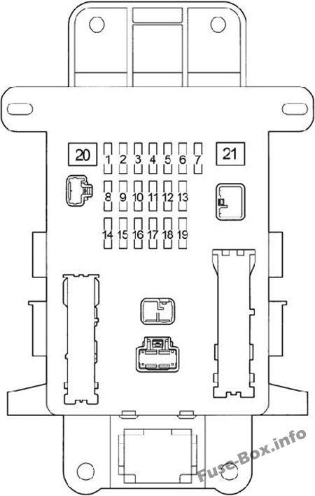 Instrument panel fuse box diagram: Toyota RAV4 (2001, 2002, 2003, 2004, 2005)