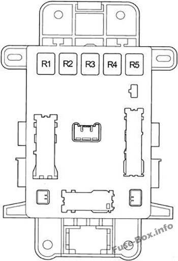 Instrument panel fuse box diagram (relays): Toyota RAV4 (2001, 2002, 2003, 2004, 2005)