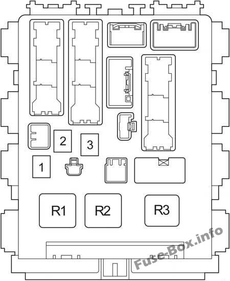 Instrument panel fuse box diagram (relays): Toyota RAV4 (2006, 2007, 2008, 2009, 2010, 2011, 2012)
