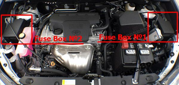 The location of the fuses in the engine compartment (ver.1): Toyota RAV4 (2013-2018)