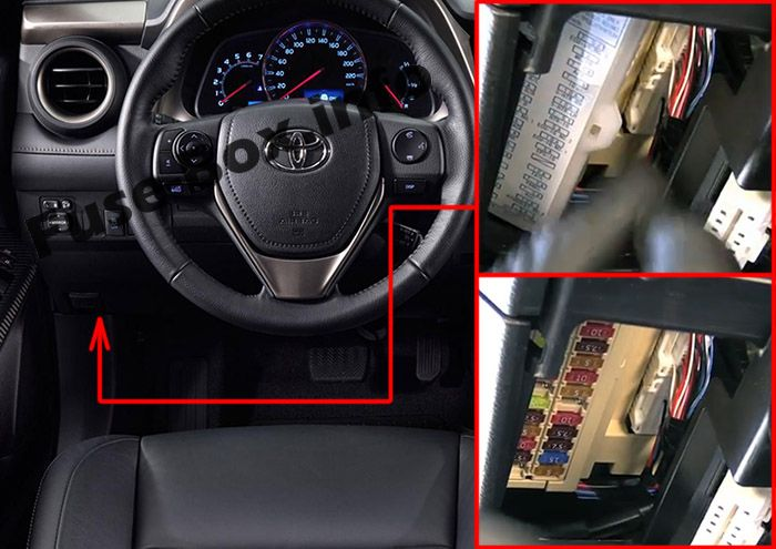 The location of the fuses in the passenger compartment: Toyota RAV4 (2013-2018)