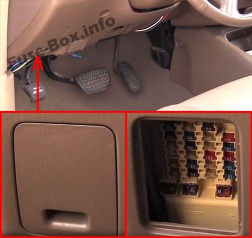 The location of the fuses in the passenger compartment: Toyota Sequoia (2001-2007)