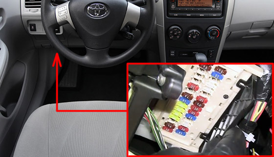 The location of the fuses in the passenger compartment: Toyota Corolla / Auris (2007-2013)
