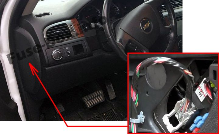The location of the fuses in the passenger compartment: Chevrolet Avalanche (2007, 2008, 2009, 2010, 2011, 2012, 2013)