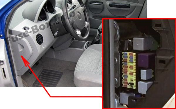 The location of the fuses in the passenger compartment: Chevrolet Aveo (2007, 2008, 2009, 2010, 2011)