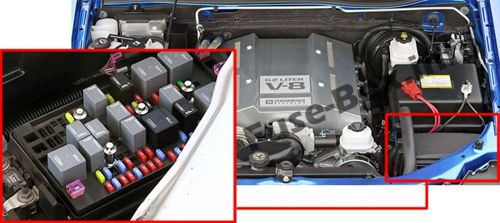 The location of the fuses in the engine compartment: Chevrolet Colorado (2004-2012)