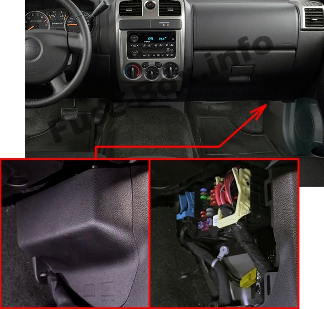 The location of the fuses in the passenger compartment: Chevrolet Colorado (2015, 2016, 2017, 2018-..)