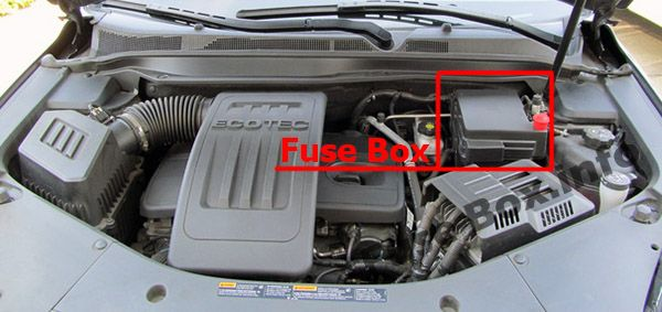 The location of the fuses in the engine compartment: Chevrolet Equinox