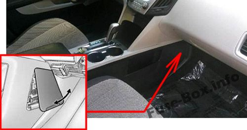 The location of the fuses in the passenger compartment: Chevrolet Equinox
