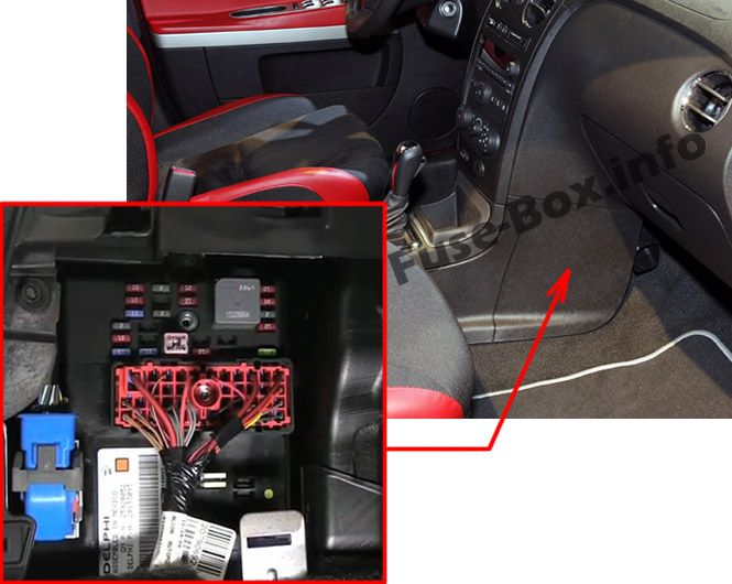 The location of the fuses in the passenger compartment: Chevrolet HHR