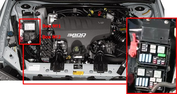 The location of the fuses in the engine compartment: Chevrolet Impala (2000, 2001, 2002, 2003, 2004, 2005)