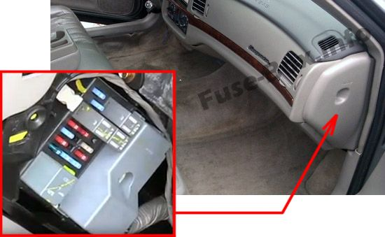 The location of the fuses in the passenger compartment: Chevrolet Impala (2000, 2001, 2002, 2003, 2004, 2005)