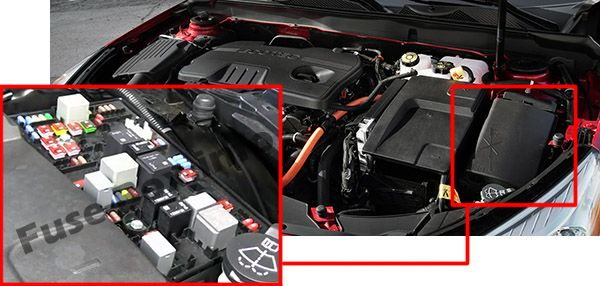 The location of the fuses in the engine compartment: Chevrolet Malibu (2013, 2014, 2015, 2016)