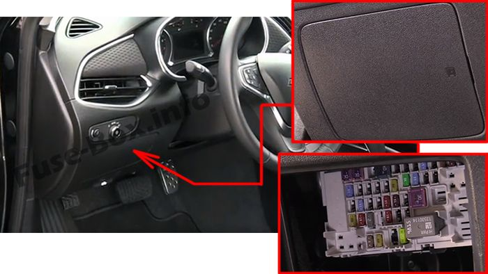 The location of the fuses in the passenger compartment: Chevrolet Malibu (2016, 2017, 2018, 2019)