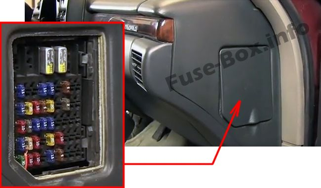 The location of the fuses in the passenger compartment: Chevrolet Monte Carlo (1995, 1996, 1997, 1998, 1999)