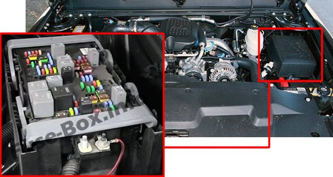 The location of the fuses in the engine compartment: Chevrolet Silverado (2007, 2008, 2009, 2010, 2011, 2012, 2013)