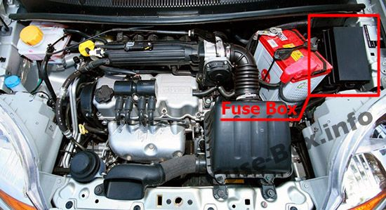 The location of the fuses in the engine compartment: Chevrolet Spark (2005, 2006, 2007, 2008, 2009)