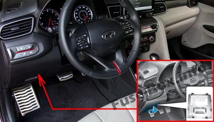 The location of the fuses in the passenger compartment: Hyundai Veloster (2018, 2019-..)