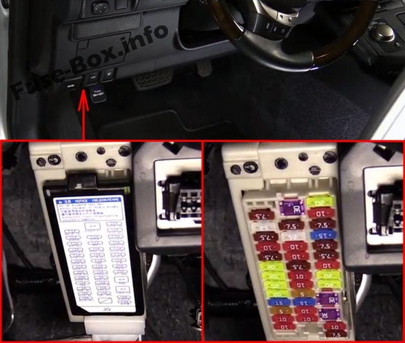 The location of the fuses in the passenger compartment: Lexus ES 250, ES 350, ES 300h, ES 350h (2012-2015)
