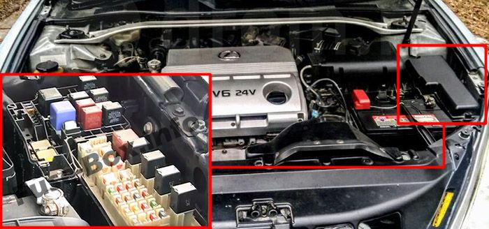 The location of the fuses in the engine compartment: Lexus ES 300, ES 330 (2001-2006)