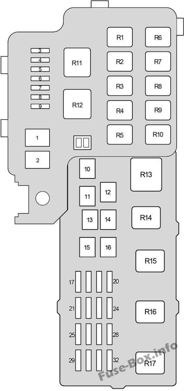 Under-hood fuse box diagram: Lexus ES 300, ES 330 (2001, 2002, 2003, 2004, 2005, 2006)