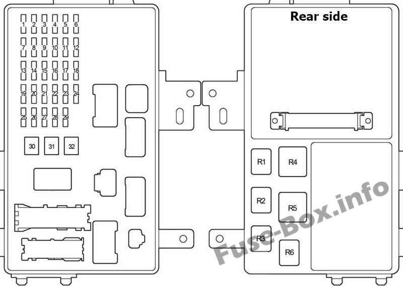 Instrument panel fuse box diagram: Lexus ES 300, ES 330 (2001, 2002, 2003, 2004, 2005, 2006)