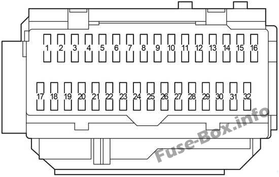 Instrument panel fuse box diagram: Lexus ES 350 (2006, 2007, 2008, 2009, 2010, 2011, 2012)