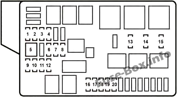 Under-hood fuse box #2 diagram: Lexus GS 350, GS 430, GS 460 (2008, 2009, 2010, 2011)